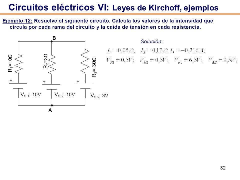 32 Ejemplo 12: Resuelve el siguiente circuito. Calcula los valores de la intensidad que circula por cada rama del circuito y la caída de tensión en ca