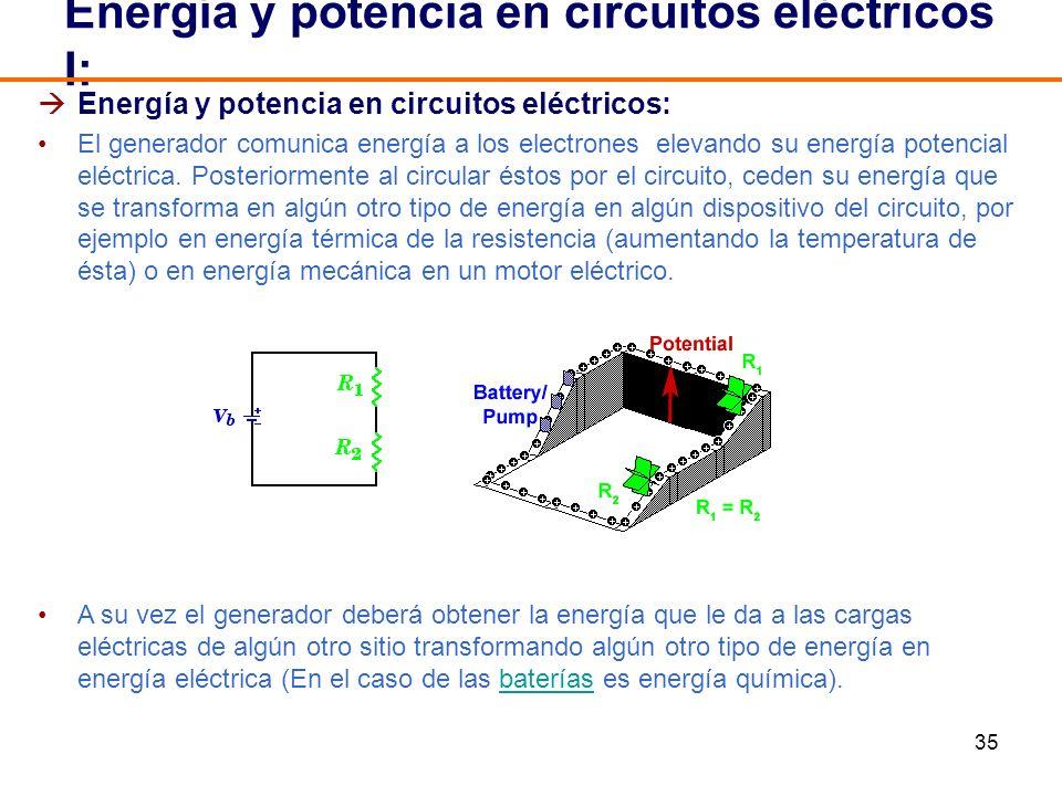 35 Energía y potencia en circuitos eléctricos: El generador comunica energía a los electrones elevando su energía potencial eléctrica. Posteriormente