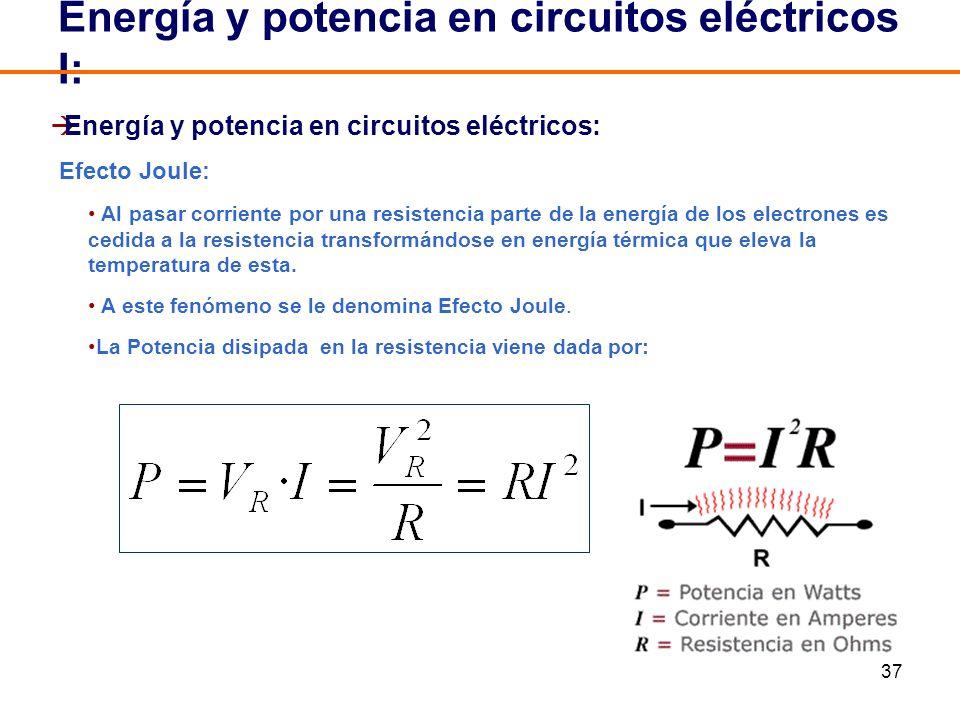 37 Energía y potencia en circuitos eléctricos: Efecto Joule: Al pasar corriente por una resistencia parte de la energía de los electrones es cedida a