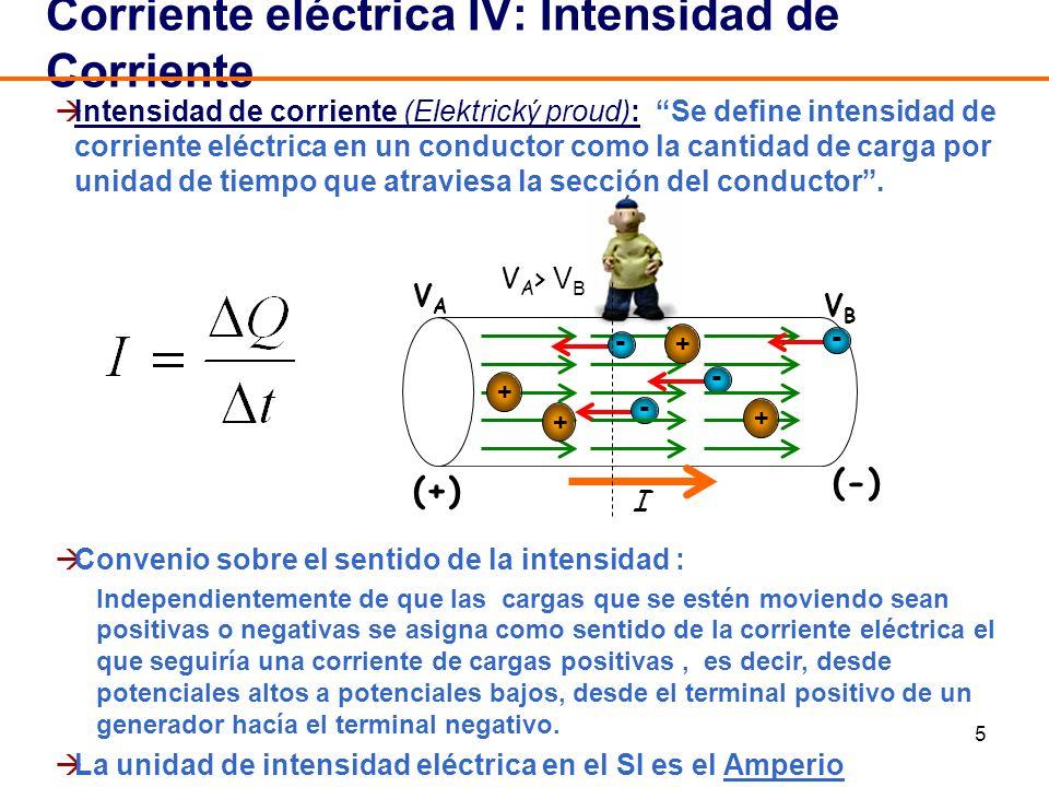 5 Intensidad de corriente (Elektrický proud): Se define intensidad de corriente eléctrica en un conductor como la cantidad de carga por unidad de tiem
