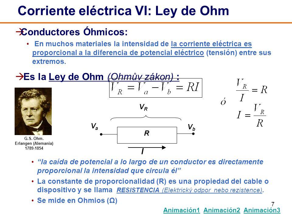 7 Conductores Óhmicos: En muchos materiales la intensidad de la corriente eléctrica es proporcional a la diferencia de potencial eléctrico (tensión) e