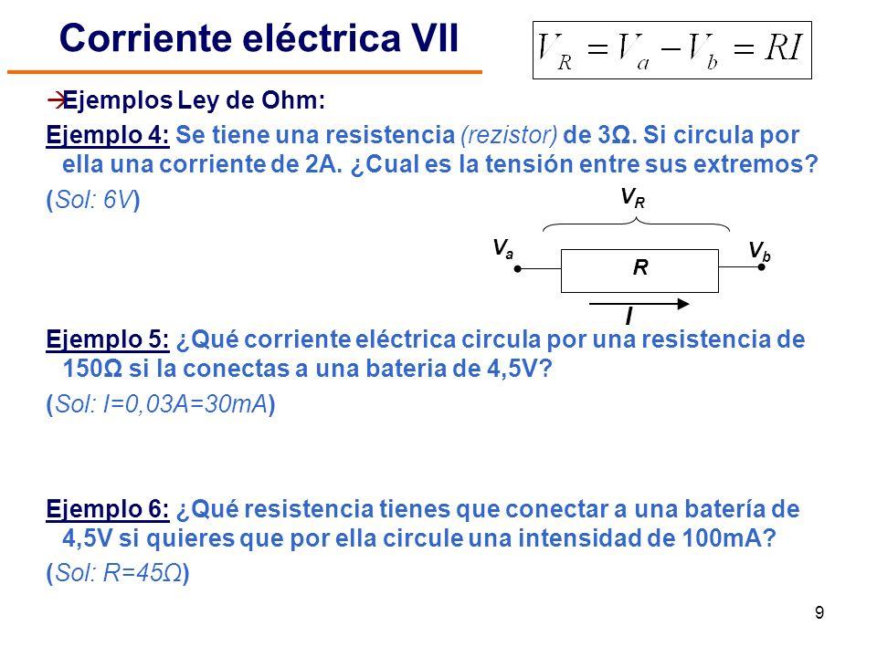 9 Ejemplos Ley de Ohm: Ejemplo 4: Se tiene una resistencia (rezistor) de 3Ω. Si circula por ella una corriente de 2A. ¿Cual es la tensión entre sus ex