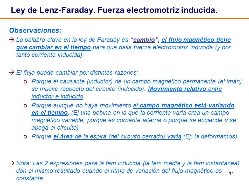 11 Ley de Lenz-Faraday. Fuerza electromotriz inducida. Observaciones: La palabra clave en la ley de Faraday es cambio, el flujo magnético tiene que ca