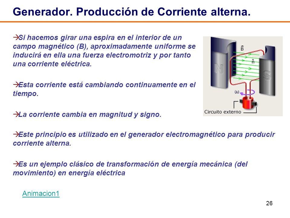 26 Generador. Producción de Corriente alterna. Si hacemos girar una espira en el interior de un campo magnético (B), aproximadamente uniforme se induc