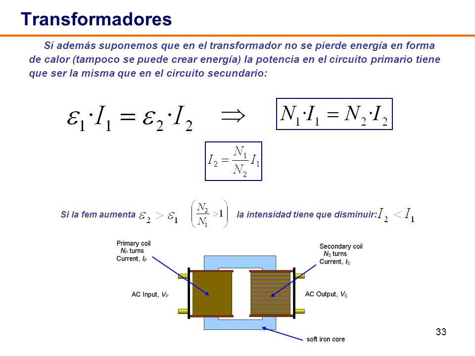 33 Transformadores Si además suponemos que en el transformador no se pierde energía en forma de calor (tampoco se puede crear energía) la potencia en