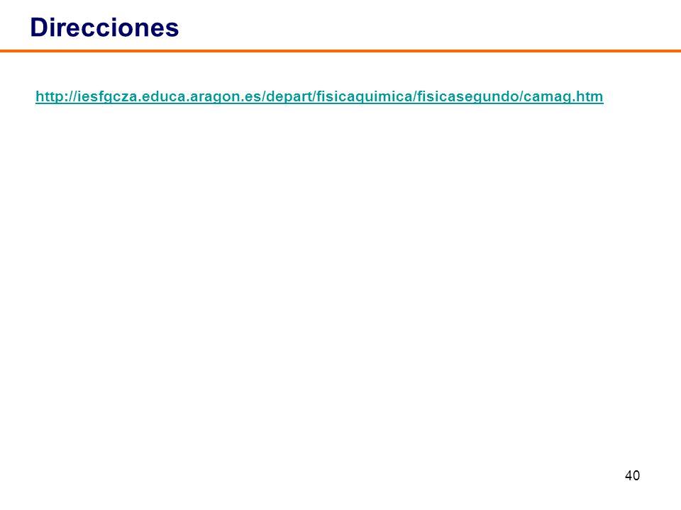 40 http://iesfgcza.educa.aragon.es/depart/fisicaquimica/fisicasegundo/camag.htm Direcciones
