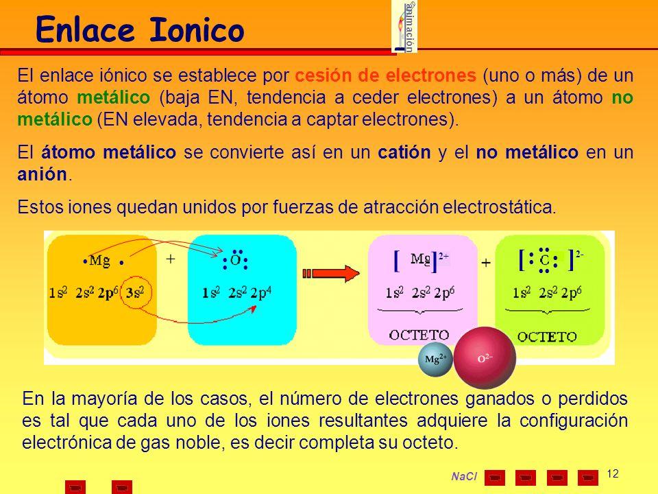 12 NaCl El enlace iónico se establece por cesión de electrones (uno o más) de un átomo metálico (baja EN, tendencia a ceder electrones) a un átomo no