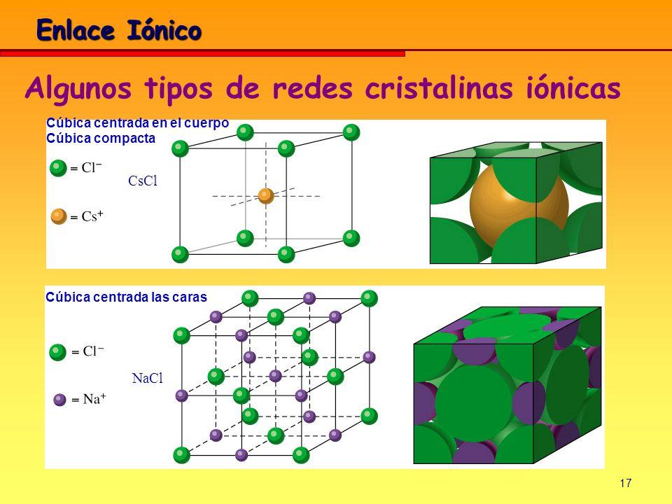 17 Enlace Iónico Cúbica centrada en el cuerpo Cúbica compacta CsCl NaCl Cúbica centrada las caras Algunos tipos de redes cristalinas iónicas