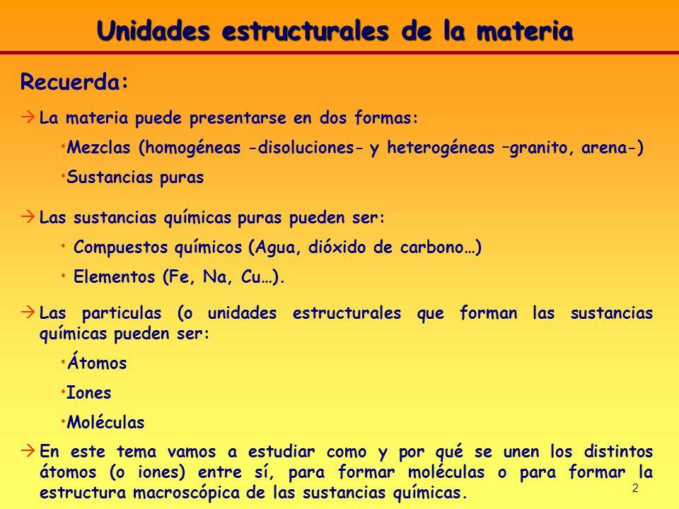 2 Recuerda: La materia puede presentarse en dos formas: Mezclas (homogéneas -disoluciones- y heterogéneas –granito, arena-) Sustancias puras Las susta