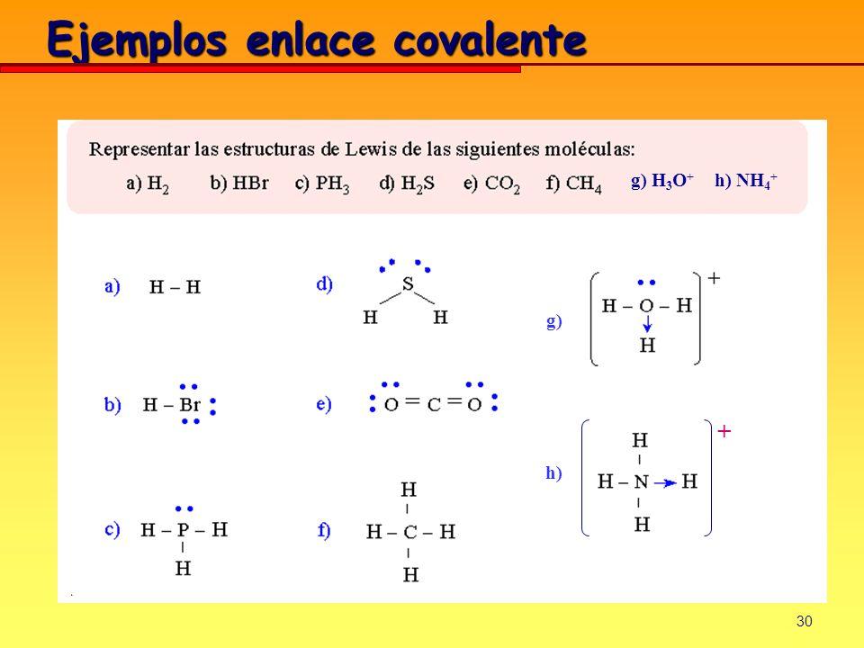 30 Ejemplos enlace covalente + g) H 3 O + h) NH 4 + g) h)