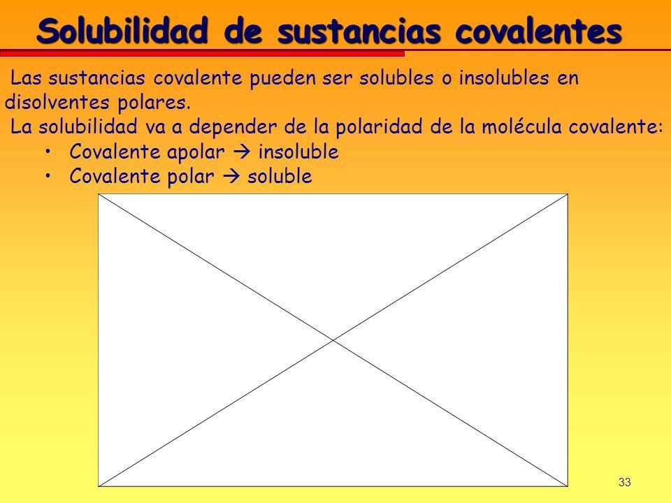 33 Solubilidad de sustancias covalentes Las sustancias covalente pueden ser solubles o insolubles en disolventes polares. La solubilidad va a depender