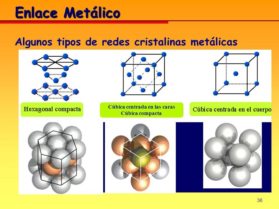 36 Algunos tipos de redes cristalinas metálicas Cúbica centrada en las caras Cúbica compacta Enlace Metálico