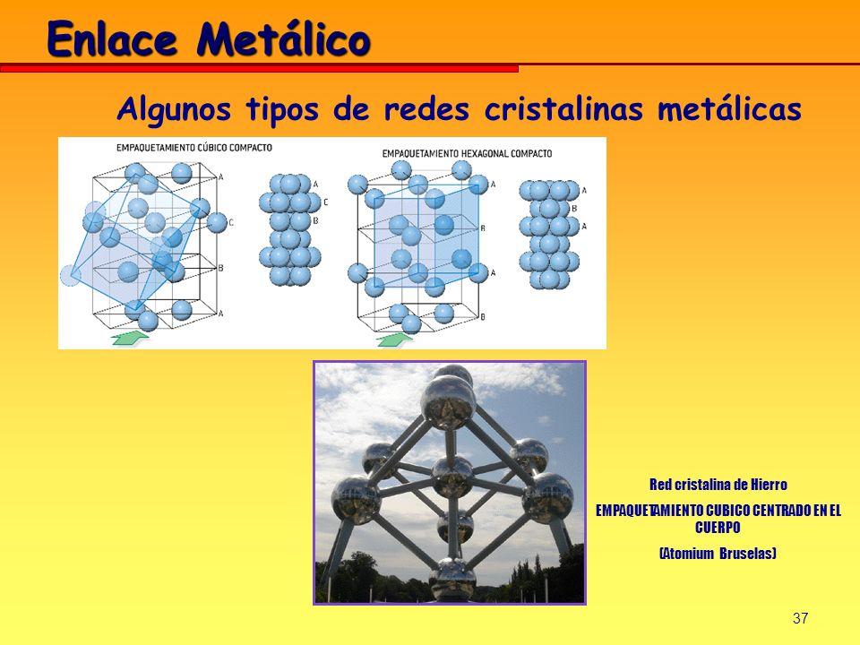 37 Algunos tipos de redes cristalinas metálicas Red cristalina de Hierro EMPAQUETAMIENTO CUBICO CENTRADO EN EL CUERPO (Atomium Bruselas) Enlace Metáli