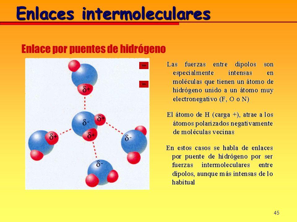 45 Enlaces intermoleculares Enlace por puentes de hidrógeno