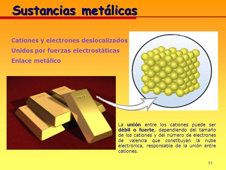 51 Sustancias metálicas Cationes y electrones deslocalizados Unidos por fuerzas electrostáticas Enlace metálico La unión entre los cationes puede ser