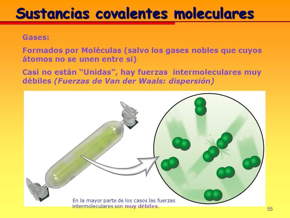 55 Gases: Formados por Moléculas (salvo los gases nobles que cuyos átomos no se unen entre si) Casi no están Unidas, hay fuerzas intermoleculares muy