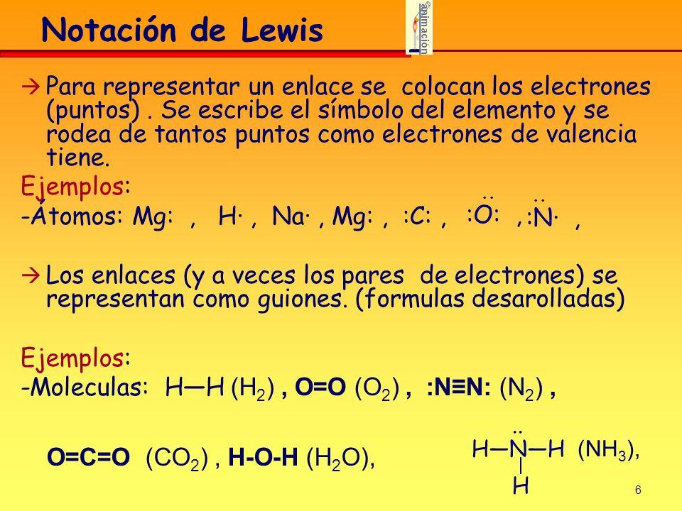 6 Notación de Lewis Para representar un enlace se colocan los electrones (puntos). Se escribe el símbolo del elemento y se rodea de tantos puntos como