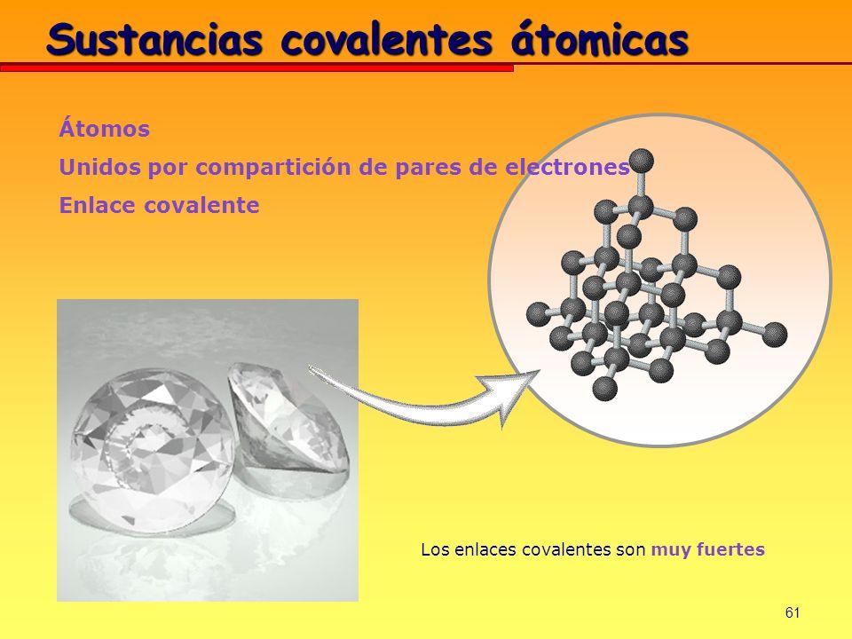 61 Átomos Unidos por compartición de pares de electrones Enlace covalente Los enlaces covalentes son muy fuertes Sustancias covalentes átomicas