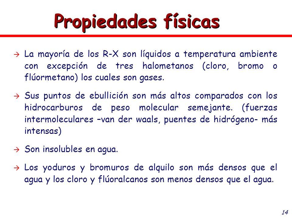 14 La mayoría de los R-X son líquidos a temperatura ambiente con excepción de tres halometanos (cloro, bromo o flúormetano) los cuales son gases. Sus