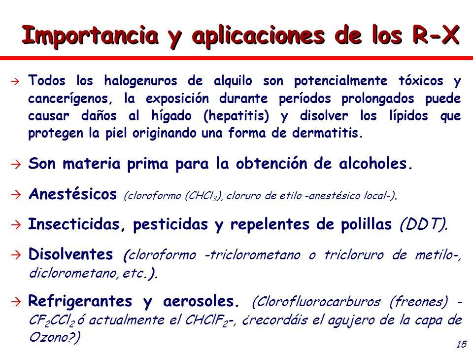 15 Importancia y aplicaciones de los R-X Todos los halogenuros de alquilo son potencialmente tóxicos y cancerígenos, la exposición durante períodos pr