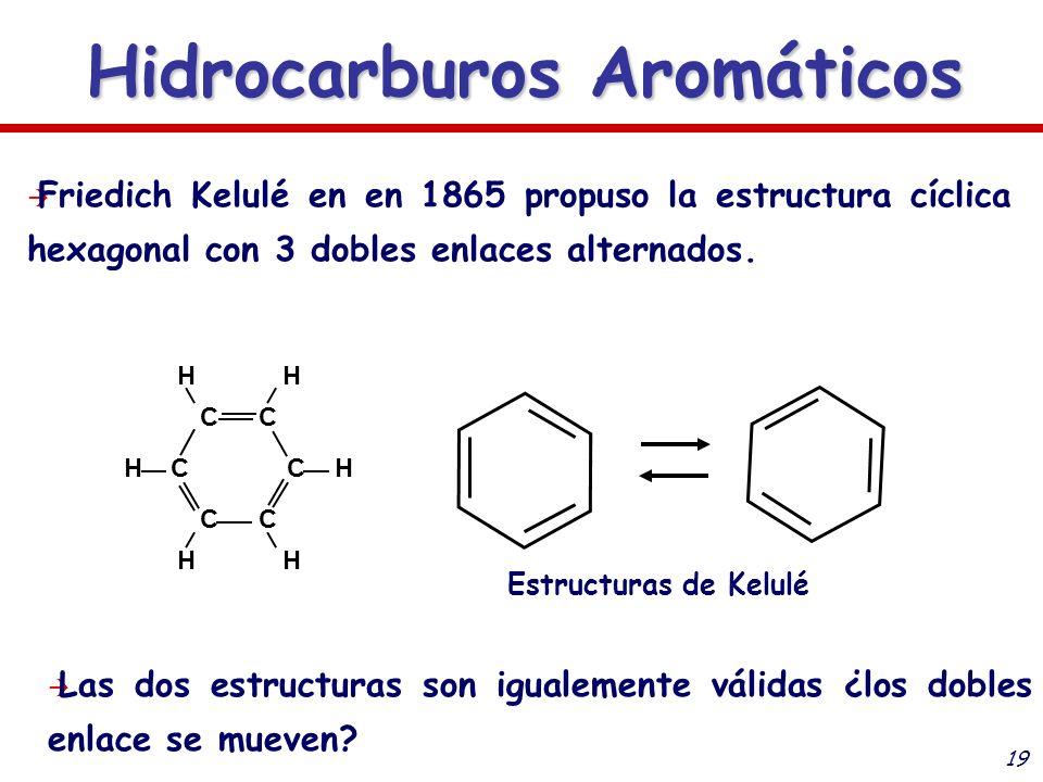19 Hidrocarburos Aromáticos CC C CC C HH H HH H Friedich Kelulé en en 1865 propuso la estructura cíclica hexagonal con 3 dobles enlaces alternados. Es
