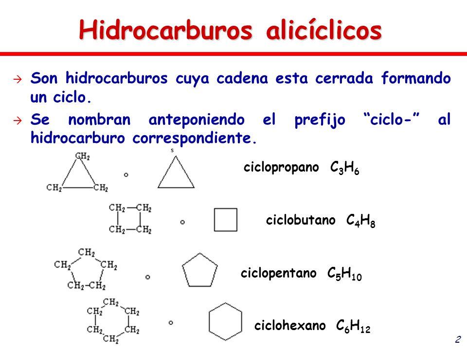 2 Son hidrocarburos cuya cadena esta cerrada formando un ciclo. Se nombran anteponiendo el prefijo ciclo- al hidrocarburo correspondiente. s cicloprop