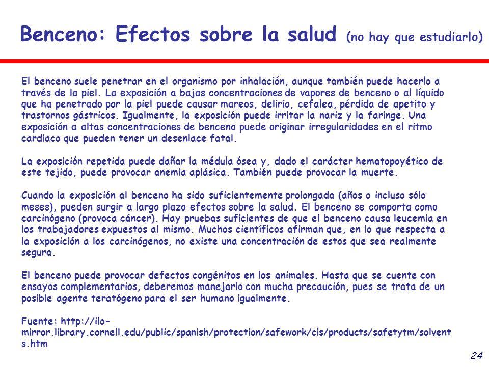 24 Benceno: Efectos sobre la salud (no hay que estudiarlo) El benceno suele penetrar en el organismo por inhalación, aunque también puede hacerlo a tr
