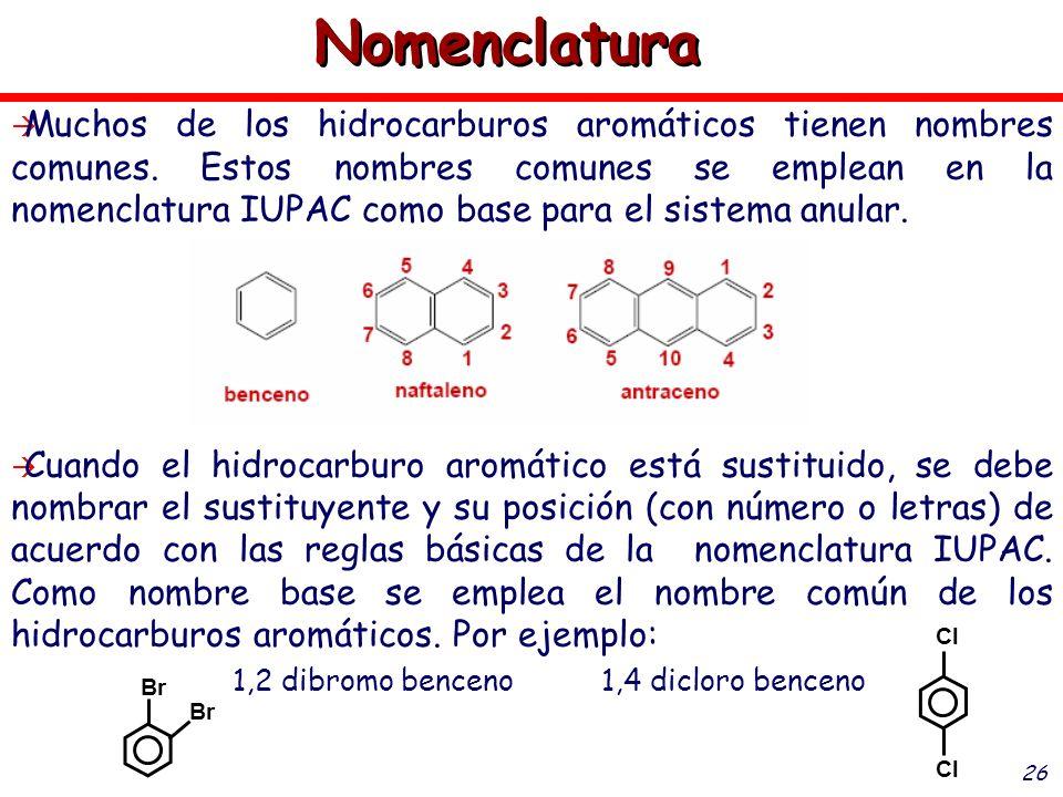 26 Muchos de los hidrocarburos aromáticos tienen nombres comunes. Estos nombres comunes se emplean en la nomenclatura IUPAC como base para el sistema