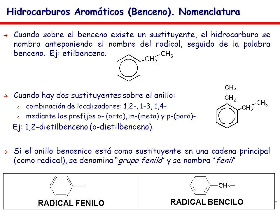 27 Hidrocarburos Aromáticos (Benceno). Nomenclatura Cuando sobre el benceno existe un sustituyente, el hidrocarburo se nombra anteponiendo el nombre d