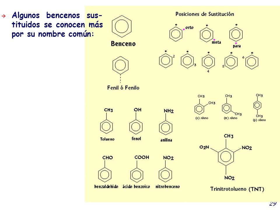 29 Algunos bencenos sus- tituidos se conocen más por su nombre común: