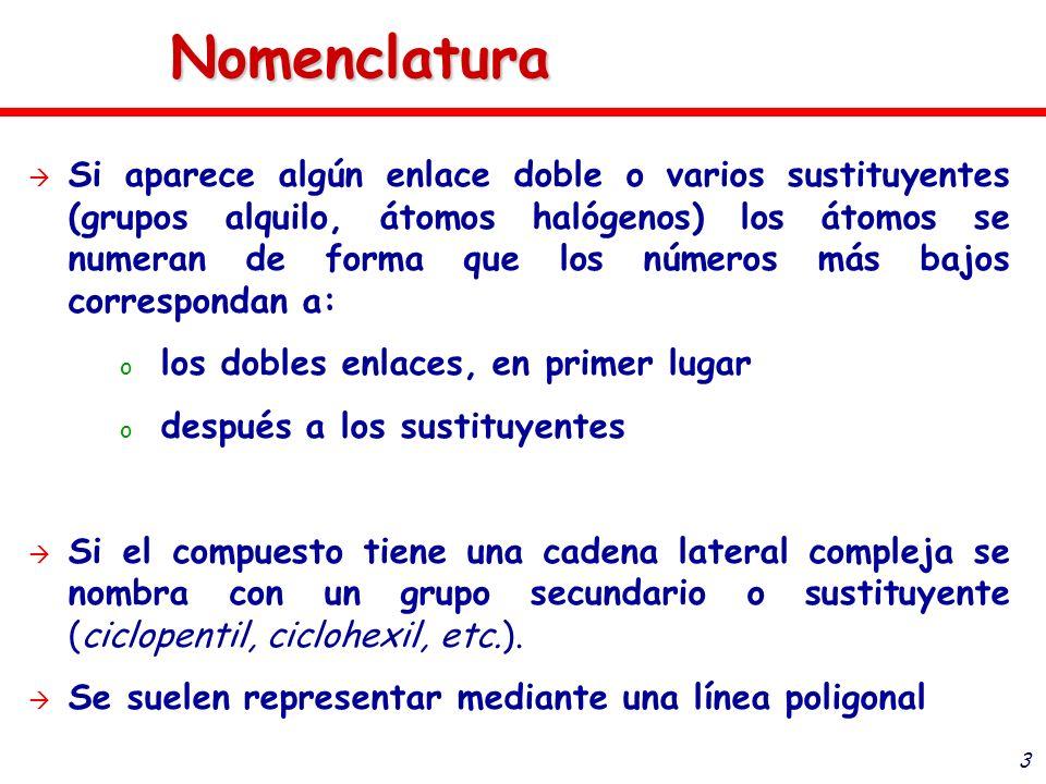 3 Nomenclatura Si aparece algún enlace doble o varios sustituyentes (grupos alquilo, átomos halógenos) los átomos se numeran de forma que los números