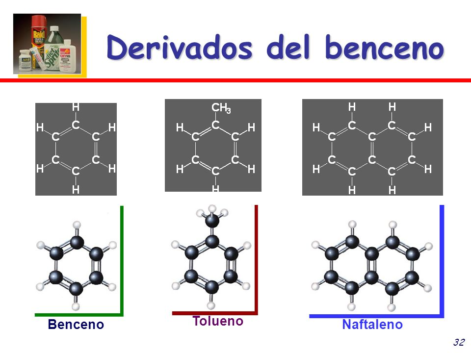 32 Derivados del benceno Benceno Tolueno Naftaleno