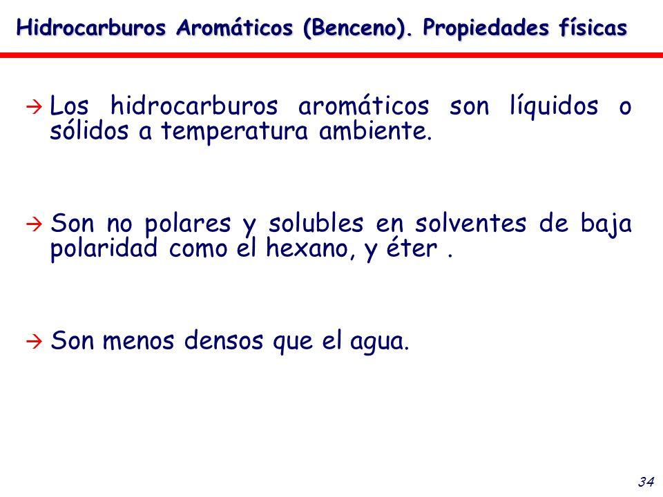 34 Los hidrocarburos aromáticos son líquidos o sólidos a temperatura ambiente. Son no polares y solubles en solventes de baja polaridad como el hexano