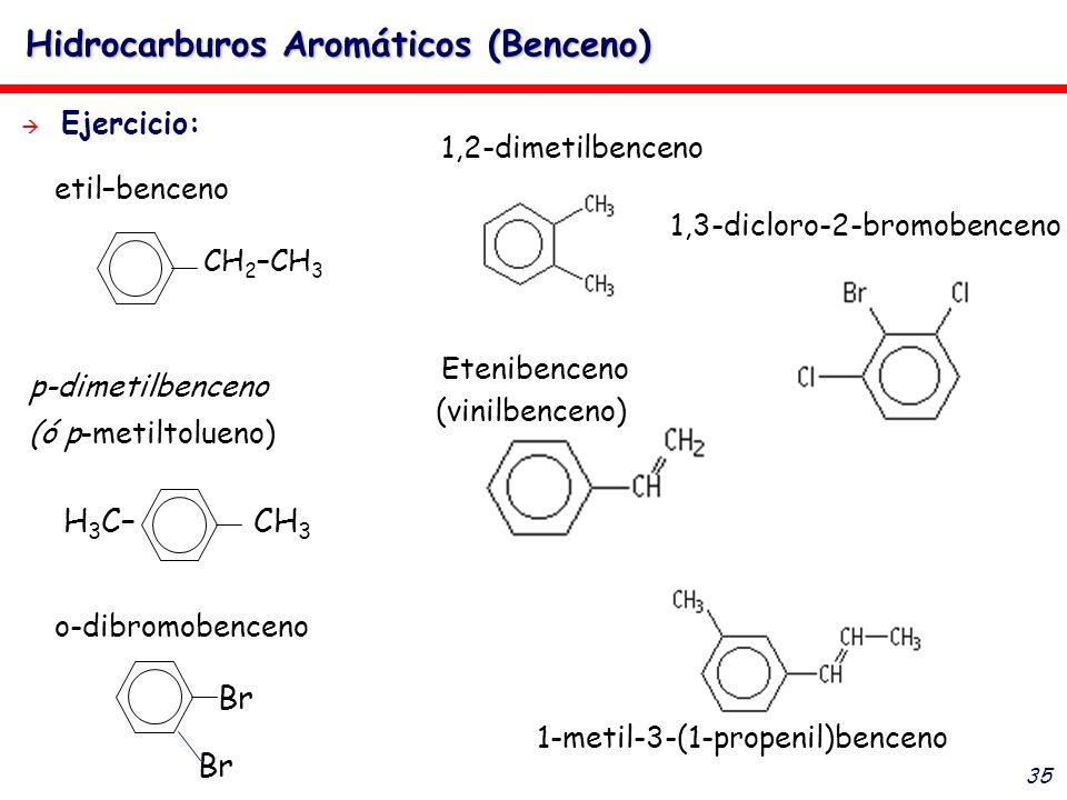 35 Hidrocarburos Aromáticos (Benceno) Ejercicio: H 3 C– CH 3 Br o-dibromobenceno p-dimetilbenceno (ó p-metiltolueno) CH 2 –CH 3 etil–benceno 1,2-dimet