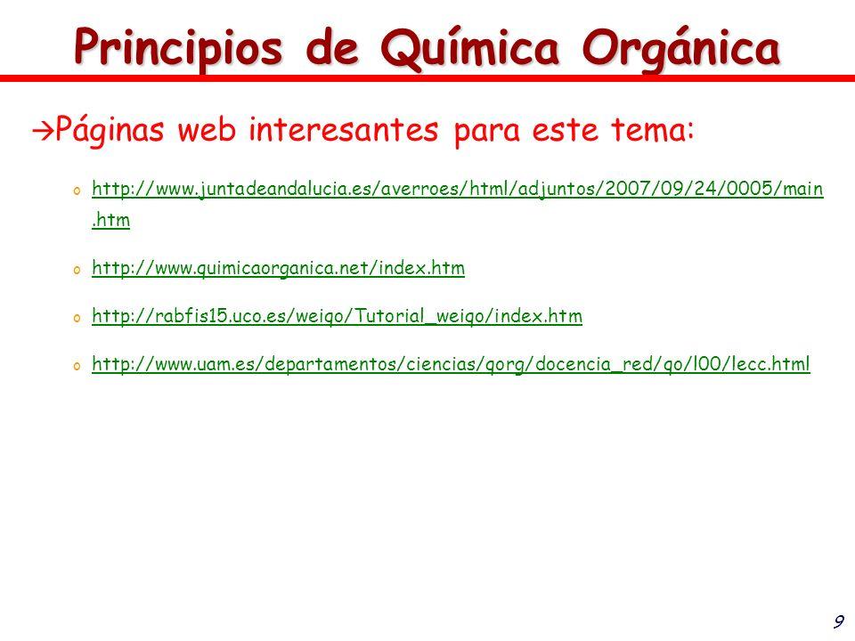 9 Principios de Química Orgánica Páginas web interesantes para este tema: o o http://www.juntadeandalucia.es/averroes/html/adjuntos/2007/09/24/0005/ma