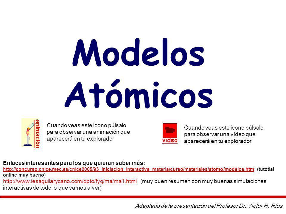 Modelos Atómicos Adaptado de la presentación del Profesor Dr.