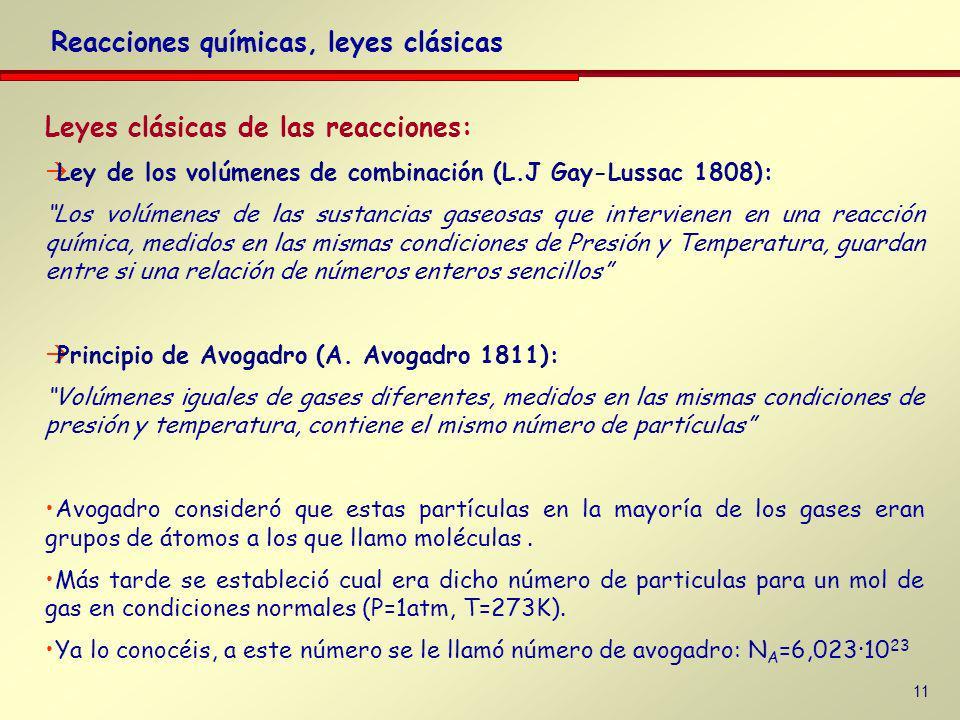 10 Leyes clásicas de las reacciones: Ley de los volúmenes de combinación (L.J Gay-Lussac 1808): Los volúmenes de las sustancias gaseosas que intervien