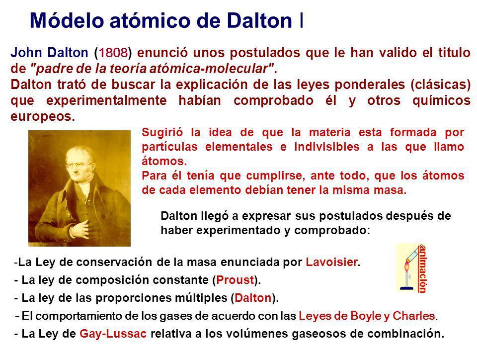 Módelo atómico de Dalton I John Dalton ( 1808 ) enunció unos postulados que le han valido el titulo de padre de la teoría atómica-molecular .