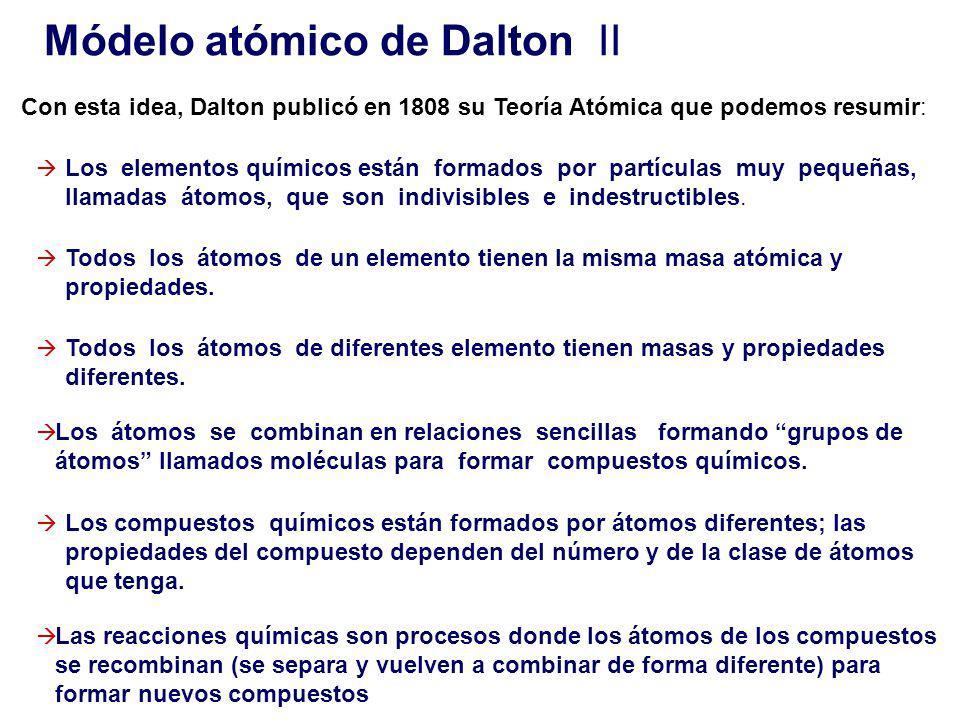 Con esta idea, Dalton publicó en 1808 su Teoría Atómica que podemos resumir: Los compuestos químicos están formados por átomos diferentes; las propiedades del compuesto dependen del número y de la clase de átomos que tenga.