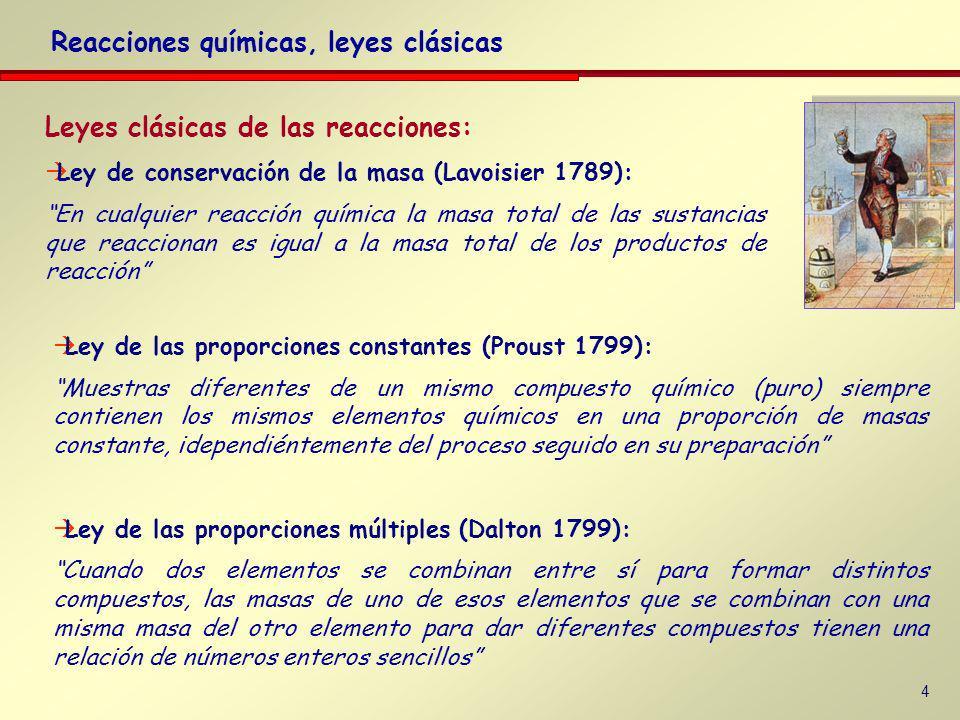 4 Leyes clásicas de las reacciones: Ley de conservación de la masa (Lavoisier 1789): En cualquier reacción química la masa total de las sustancias que reaccionan es igual a la masa total de los productos de reacción Reacciones químicas, leyes clásicas Ley de las proporciones constantes (Proust 1799): Muestras diferentes de un mismo compuesto químico (puro) siempre contienen los mismos elementos químicos en una proporción de masas constante, idependiéntemente del proceso seguido en su preparación Ley de las proporciones múltiples (Dalton 1799): Cuando dos elementos se combinan entre sí para formar distintos compuestos, las masas de uno de esos elementos que se combinan con una misma masa del otro elemento para dar diferentes compuestos tienen una relación de números enteros sencillos