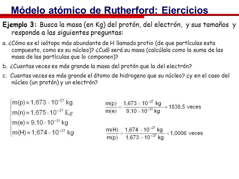 Módelo atómico de Rutherford: Ejercicios Ejemplo 1: ¿Que caracteriza a un elemento químico, es decir, ¿cual es su propiedad fundamental que lo hace di