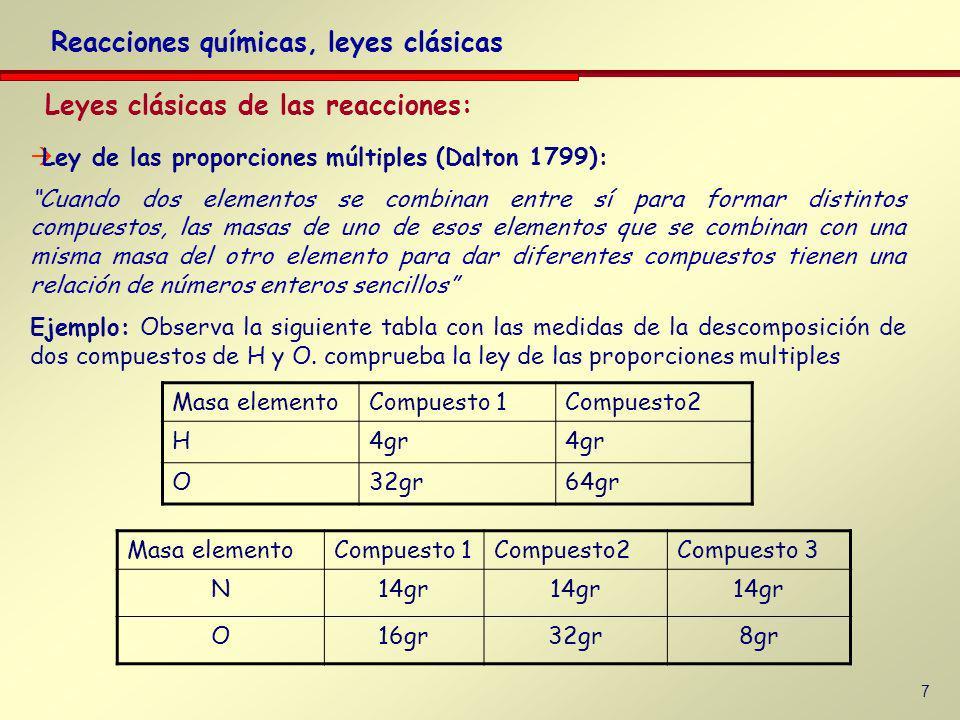 7 Leyes clásicas de las reacciones: Reacciones químicas, leyes clásicas Ley de las proporciones múltiples (Dalton 1799): Cuando dos elementos se combinan entre sí para formar distintos compuestos, las masas de uno de esos elementos que se combinan con una misma masa del otro elemento para dar diferentes compuestos tienen una relación de números enteros sencillos Ejemplo: Observa la siguiente tabla con las medidas de la descomposición de dos compuestos de H y O.