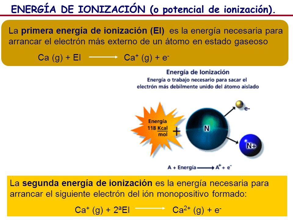 16 La primera energía de ionización (EI) es la energía necesaria para arrancar el electrón más externo de un átomo en estado gaseoso Ca (g) + EI Ca +