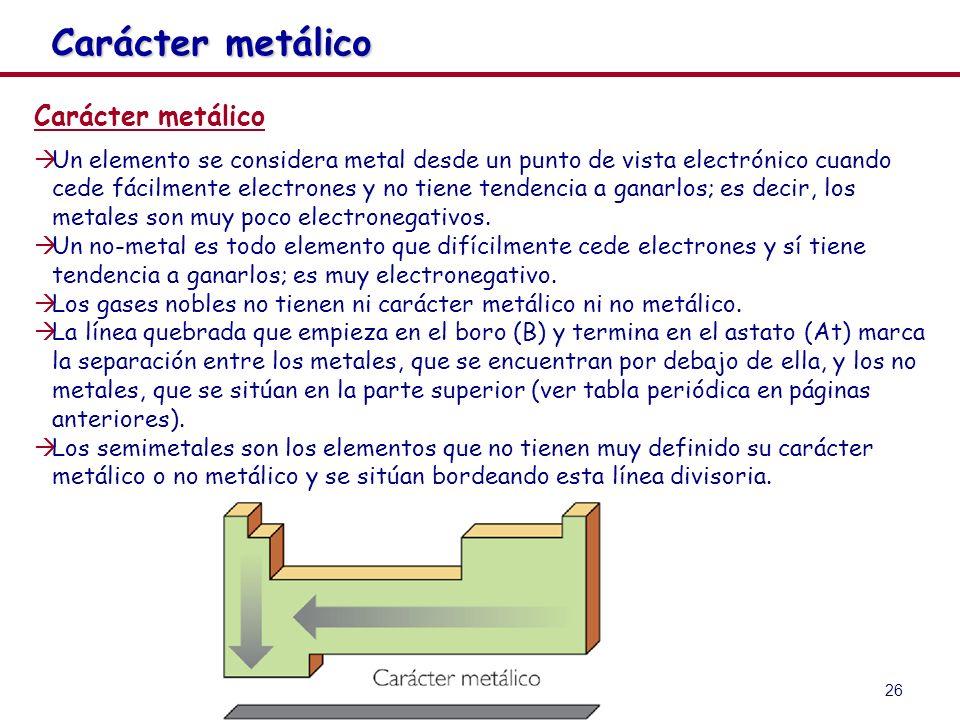26 Carácter metálico Un elemento se considera metal desde un punto de vista electrónico cuando cede fácilmente electrones y no tiene tendencia a ganar
