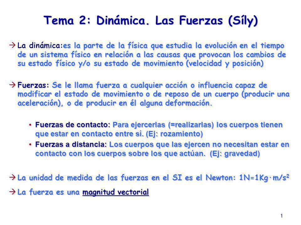 1 Tema 2: Dinámica. Las Fuerzas (Síly) es la parte de la física que estudia la evolución en el tiempo de un sistema físico en relación a las causas qu