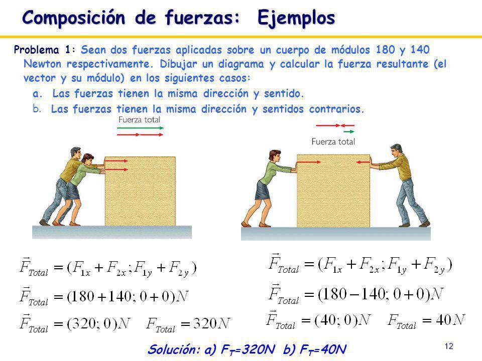 12 Solución: a) F T =320N b) F T =40N Problema 1: Sean dos fuerzas aplicadas sobre un cuerpo de módulos 180 y 140 Newton respectivamente. Dibujar un d