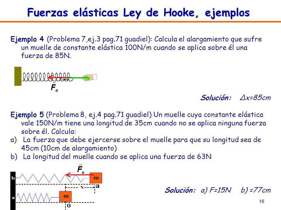 16 Ejemplo 4 (Problema 7,ej.3 pag.71 guadiel): Calcula el alargamiento que sufre un muelle de constante elástica 100N/m cuando se aplica sobre él una