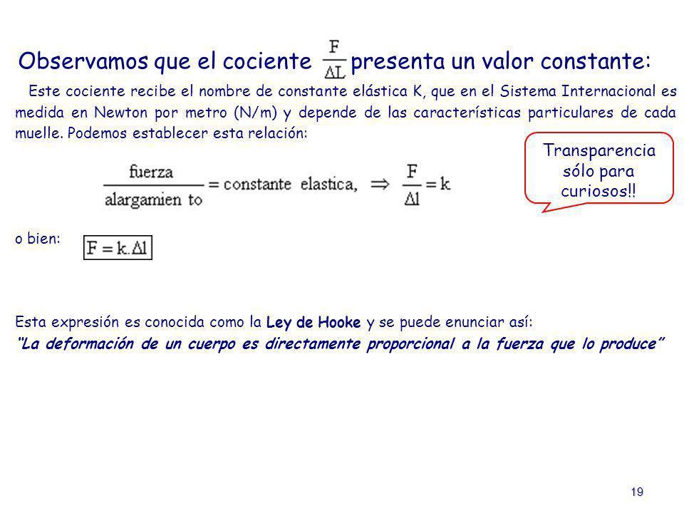 19 Observamos que el cociente presenta un valor constante: Este cociente recibe el nombre de constante elástica K, que en el Sistema Internacional es