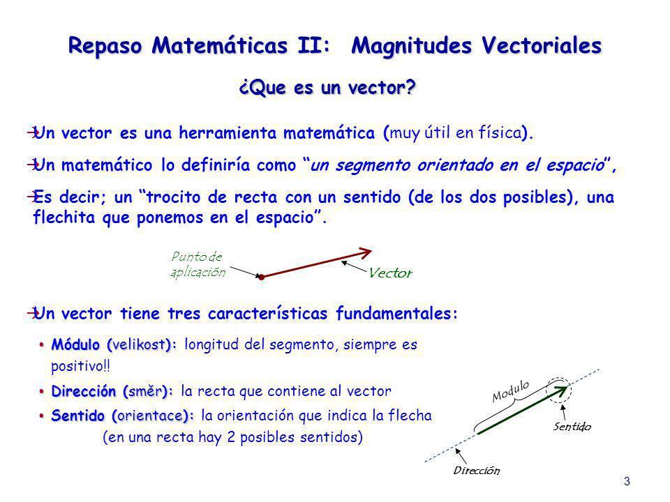3 ¿Que es un vector? Un vector es una herramienta matemática (muy útil en física). Un matemático lo definiría como un segmento orientado en el espacio