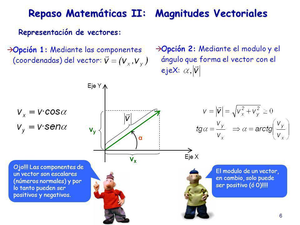 6 Opción 1: Mediante las componentes (coordenadas) del vector: Representación de vectores: Repaso Matemáticas II: Magnitudes Vectoriales Opción 2: Med